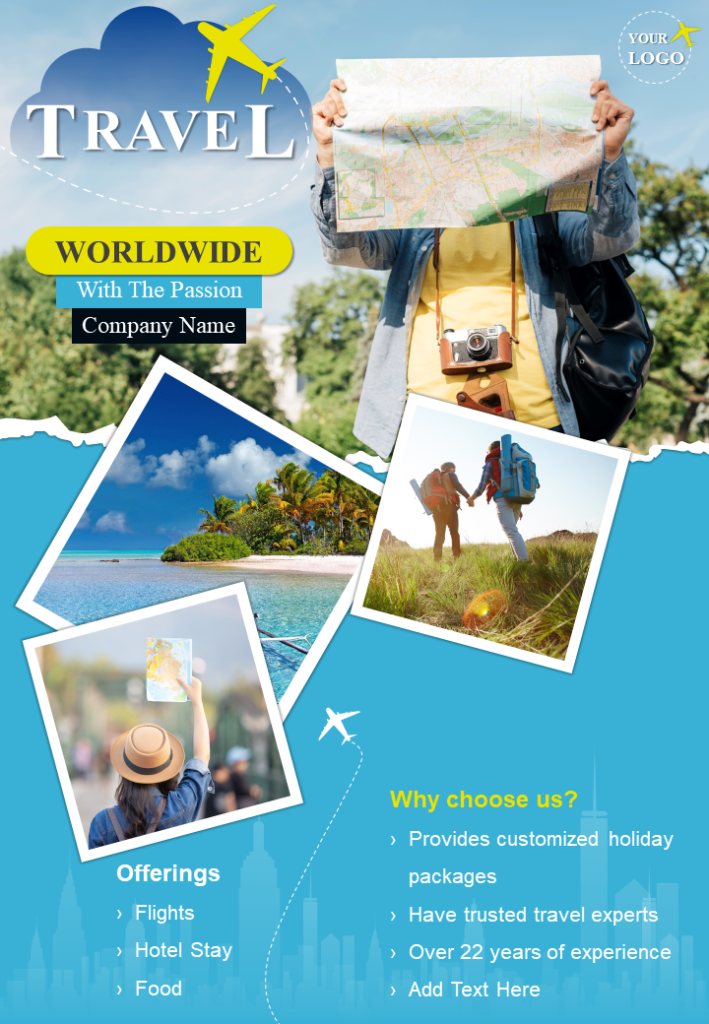 Travel The World Two Page Brochure Flyer Template