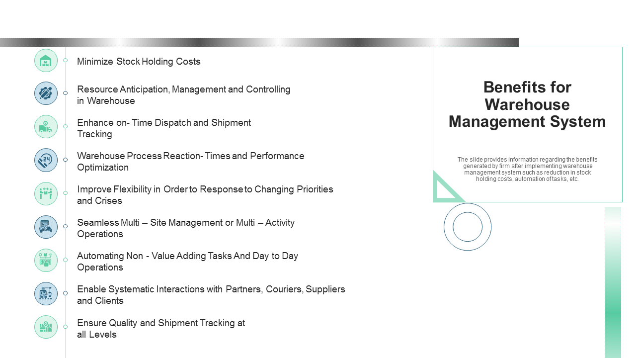 Benefits For Warehouse Management System PowerPoint Slides