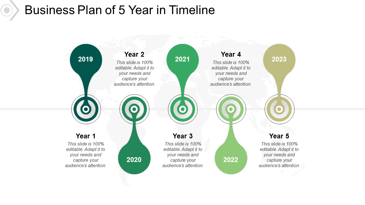 Business Plan Of 5 Year In Timeline PowerPoint Slides