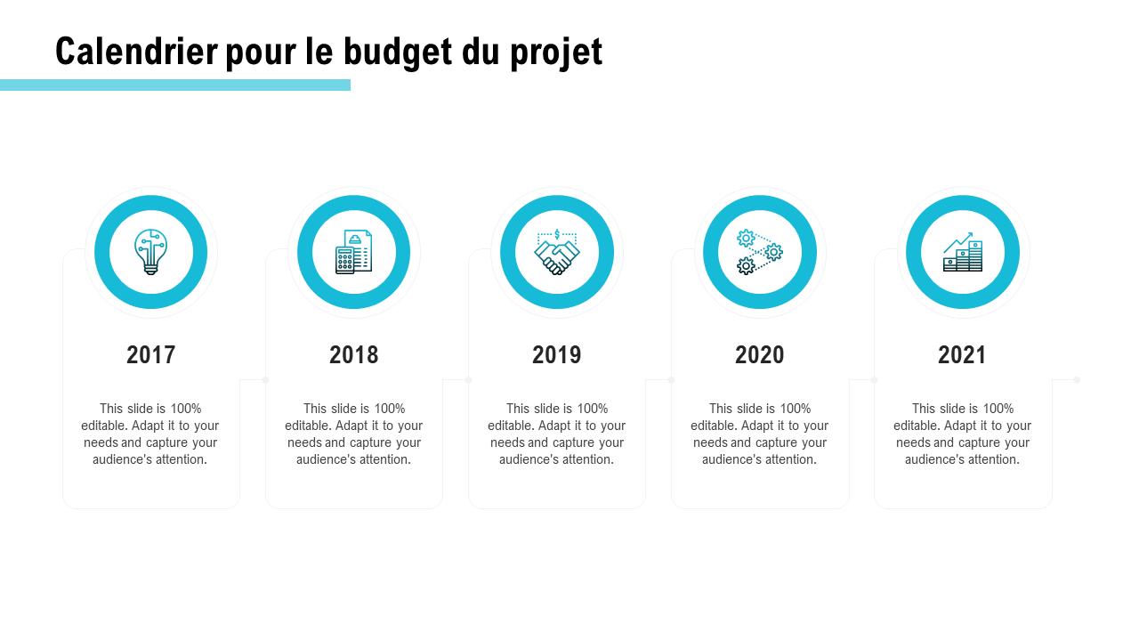 Calendrier pour le budget du projet