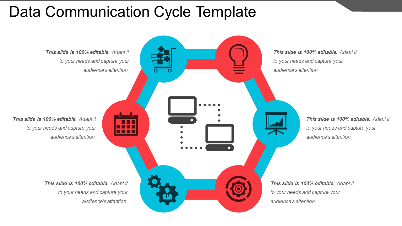 Data Communication Cycle Template PowerPoint Slide