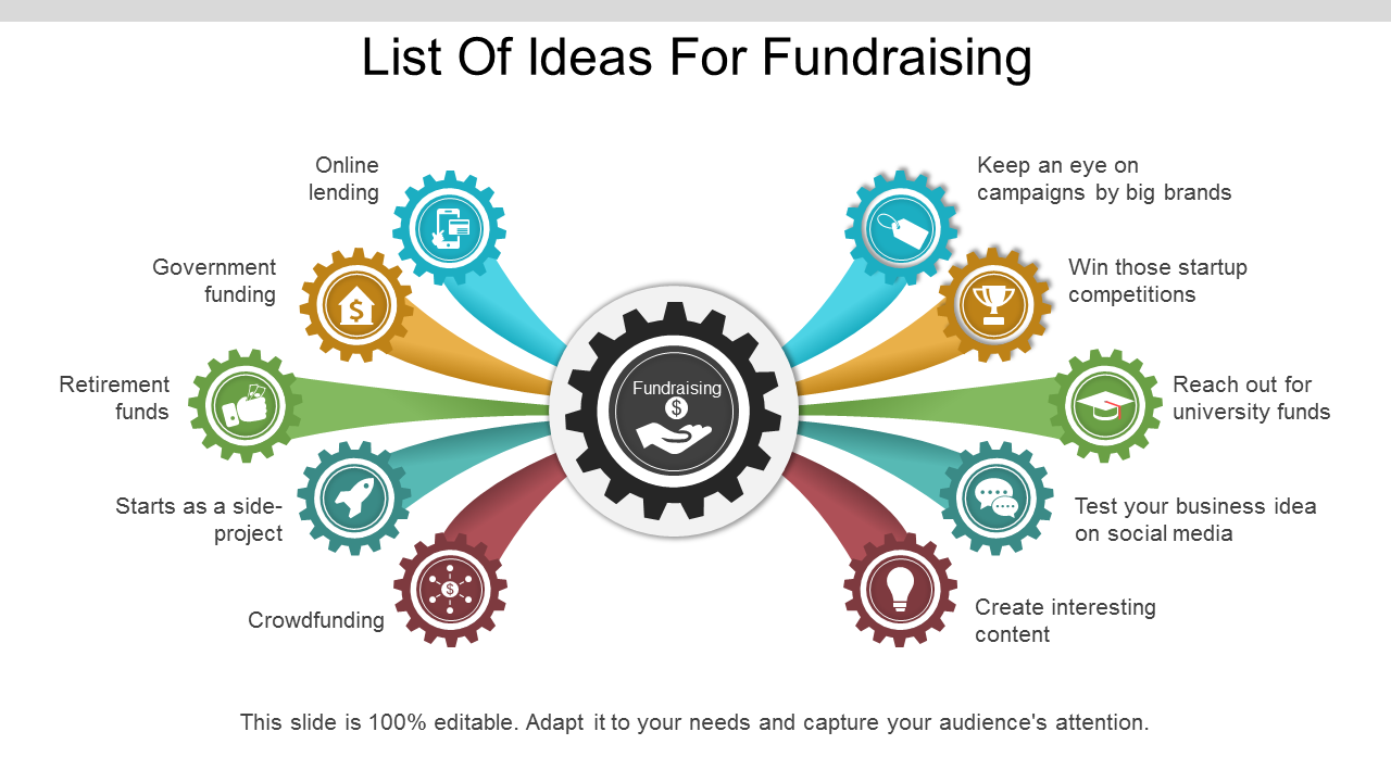 List Of Ideas For Fundraising PowerPoint Infographic Templates