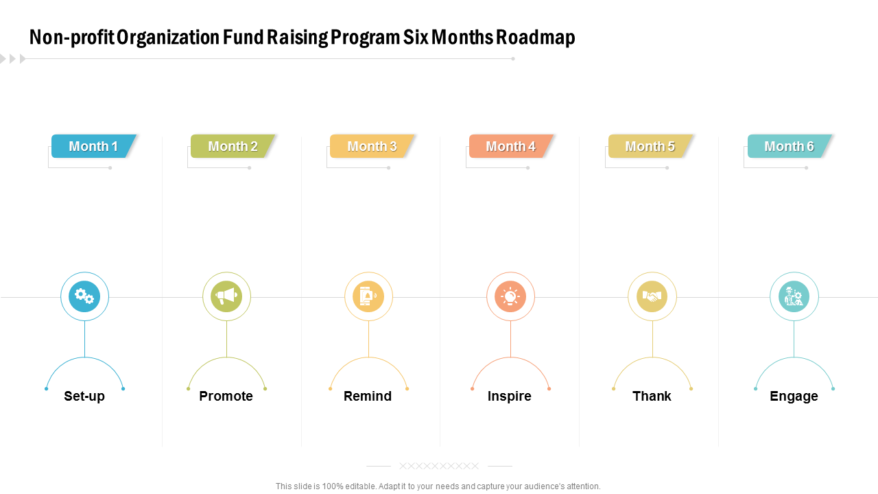 Non Profit Organization Fund Raising Program Six Months Roadmap PowerPoint Slides